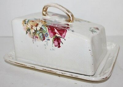 Antique Wedge Cheese Dish Covered - Flowers, Red Roses, White Daisies - Ceramic