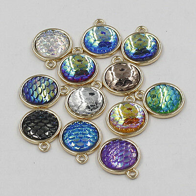 Lots Mermaid Charm Fish Scale Tail Beach 12mm DIY Pendant Jewelry Making Finding