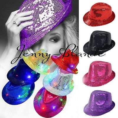 Kids Adult Glitter Sequin Fedora Trilby Cap Dance Jazz Hat Gangster Club Costume