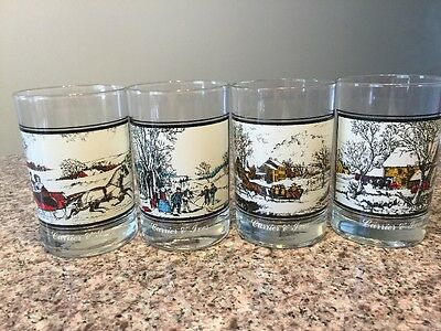 Arby's Currier & Ives Collector's series 1978 set of 4 Winter Scenes glasses