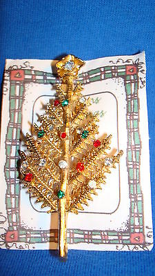 "Christmas PIN #0410 Vtg Goldtone Upward Pine Branch Tree with Rhinestones ""RARE"""