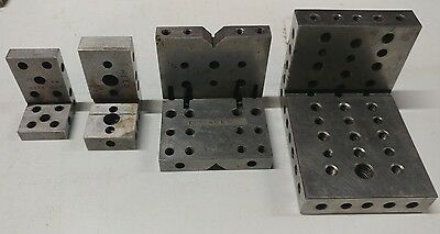 Lot of 4 Angle Plates 1 with V Groove Milling Machine Work Machinist Made Tools