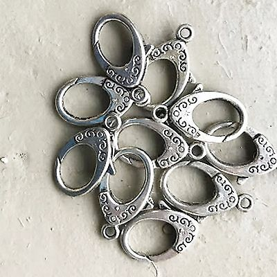 10 x Silver Hinged Ring Keychain Key Chain Jewellery Clasps 25mm x 18mm