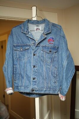 Vintage Planet Hollywood Orlando Blue Denim Jacket Size XL Flip Cuff Collar