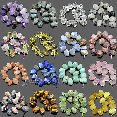 "Natural Faceted Gemstones Rondelle Nugget Freeform Beads 8"" 10x15mm-13x19mm"