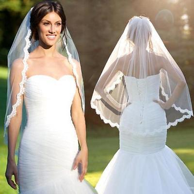 2018 1 Layer White Ivory Elbow Length Lace Edge Bride Wedding Bridal Veil Comb