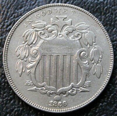 1866 Shield Nickel With Rays AU Almost Uncirculated