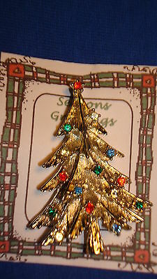 Christmas PIN #0454 Vintage Goldtone Christmas Tree with Rhinestone Ornaments