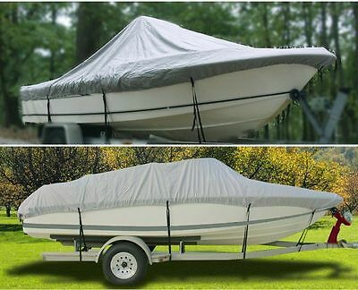 17 FT - 19 FT Waterproof Trailable FISHING/SKI/BOAT COVER V-Hull 210D Gray BT