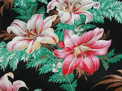 Vintage Stargazer Lilies on Black - Scarce Reproduction Cotton Quilting Fabric