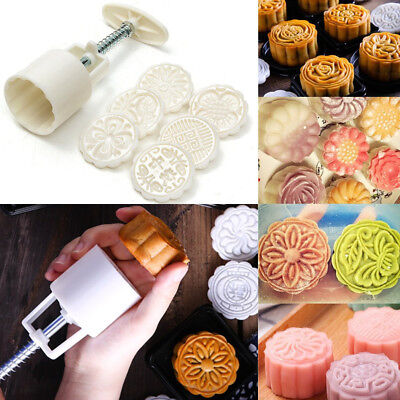 50g Round Baking Mooncake DIY Mold Pastry Biscuit Moon Cake Mould Fower 6 Stamps