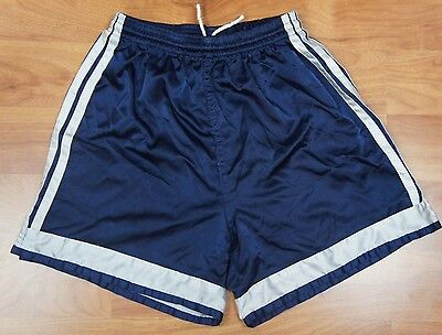 Vintage Adidas Blue Shiny Nylon Shorts Adult Small Made in USA