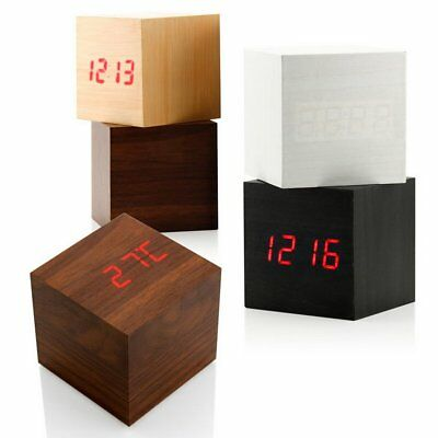 NEW Cube Wooden Wood Digital LED Desk Voice Control Alarm Clock Thermometer WP