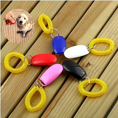 Dog Pet Click Clicker Training Obedience Agility Trainer Aid Wrist Strap Q