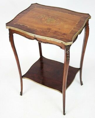 19C Antique French Walnut Marquetry Inlaid Occasional Table [PL3489]