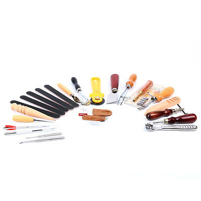 Leather Craft Punch Tools Kit Stitching Carving Sewing Saddle Groover 24 Nice
