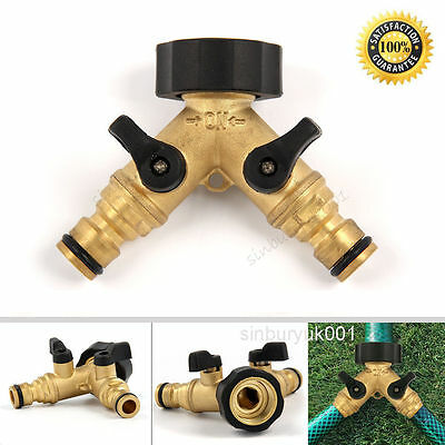 """Uk Solid Brass Garden Tap Adaptor 2 Way Double Outside & Hose Connectors 3/4"""""""