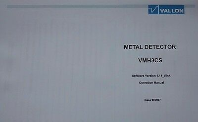 Vallon VMH3CS Army Metal Detector Colour Operation Manual