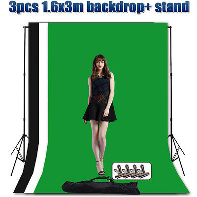 Photography Studio Backdrop Background Lighting Stand Support Screen Stands Kit