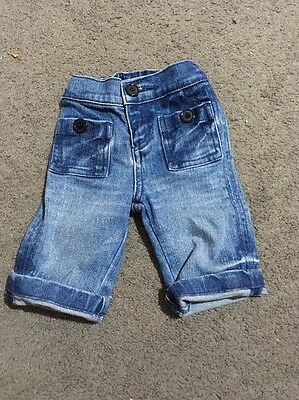 Baby Boys Or Girls Blue Denim Jeans With Elastic Waist Size 0-3 Months EUC