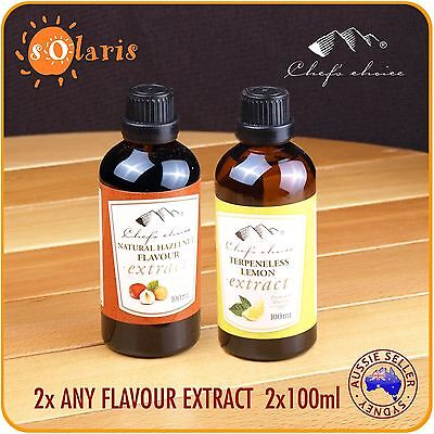 2x100ml Chef's Choice Pure Food Flavour Extracts All Natural Ingredients Essence