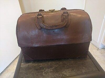 Vintage Emdee by Schell Doctor's Medical Bag Leather Cowhide Steampunk Case