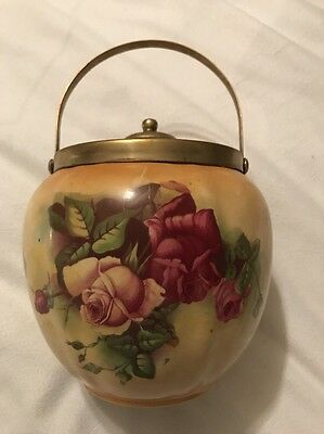 Antique Vintage Biscuit Jar Handpainted Roses