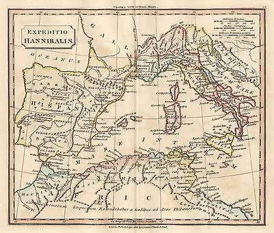1830 Hannibal's Expedition Genuine Hand Coloured Antique Map Souter