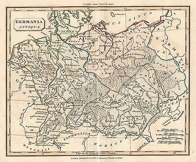 1830 Ancient Germany Genuine Hand Coloured Antique Map Souter