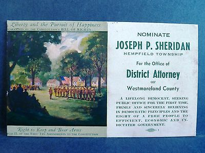 Ink Blotter PA 1945 Westmoreland Co Election Vote Sheridan District Attorney