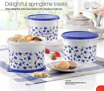 New Tupperware spring garden canister set floral (3) purple 1.7L