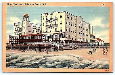 Postcard DE Rehoboth Beach Henlopen Hotel on Boardwalk Vintage Linen #2 R15