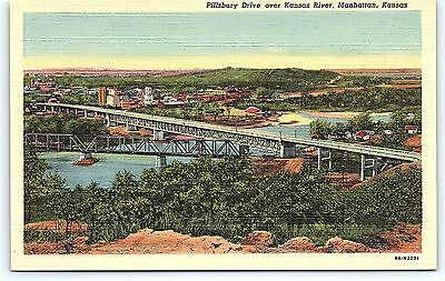 Postcard KS Manhattan Pillsbury Drive over Kansas River Vintage Linen R22