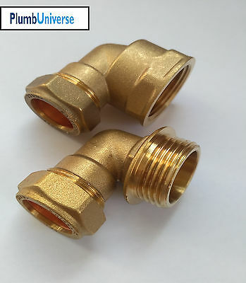22mm Compression x 1 Inch  BSP Brass Elbow Male and Female Available
