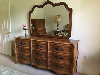 Vintage Serpentine French Provincial Five Piece Bedroom Set