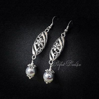 88f6e9d78 Silver Filigree Earrings Long Dangle Hematite Tibetan & 925 sterling silver  hook