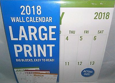 2018 Wall Calendar  LARGE PRINT Big Blocks,Easy to Read