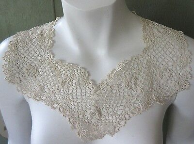 Antique Victorian or Edwardian Irish Lace Collar Dress Trim Hand Crochet