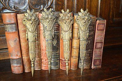 One Pair Antique French Bronze Ormolu Tall Floral Basket Pediments