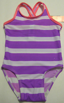 New OLD NAVY Size 12-18 Months Purple Striped One-Piece UPF 50 Swimsuit