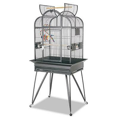 Pet Bird PARAKEETS Small Parrots Cage Home Bowl Platform With Stand WHEELS Roof