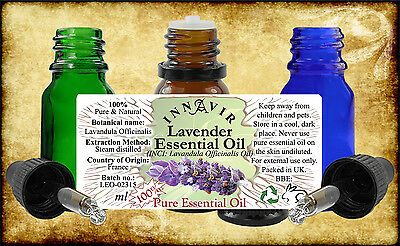 Pure Lavender_Rosemary_Tea Tree Essential Oil 10ml amber/blue/green glass bottle