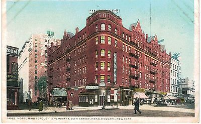 New York City NYC Hotel Marlborough Herald Square  1910 Unused