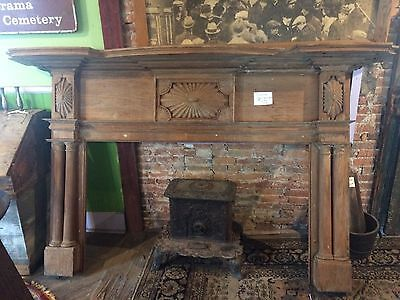 Unique, Antique Heart Pine Wood, Ornate, Fire Place Mantle