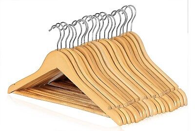 2 - 200 Wooden Hangers Coat Suit Garment Clothes Wardrobe Wood Hanger Trouser