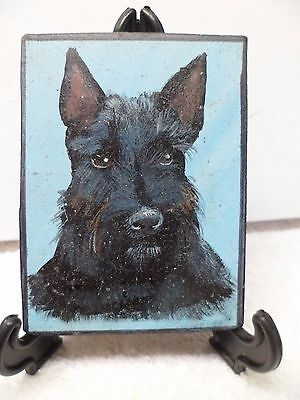 Scottish Terrier- Hand Painted On Tile With Easel By Artist W. W. Hoffert