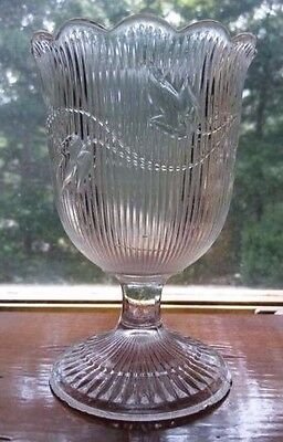 RIBBED IVY - EARLY ANTIQUE EAPG FLINT GLASS SPOONER - (imperfect)