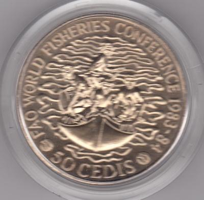 1983 - 84 Ghana 50 Cedis Fao Fisheries Copper Nickel Crown With Capsule Bu