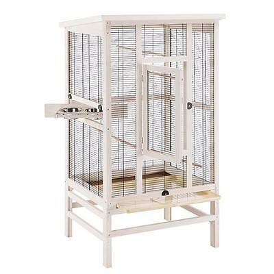 Wooden Bird Aviary For SMALL BIRDS Metal Mesh Pet Cage Feeding Bar Perches BOWLS
