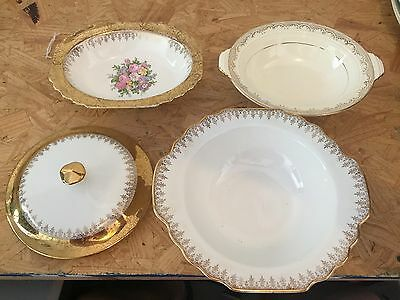 Lido S.w. George White Vogue Dinnerware 22K Gold Accents Lot Of 3 Bowls And Lid